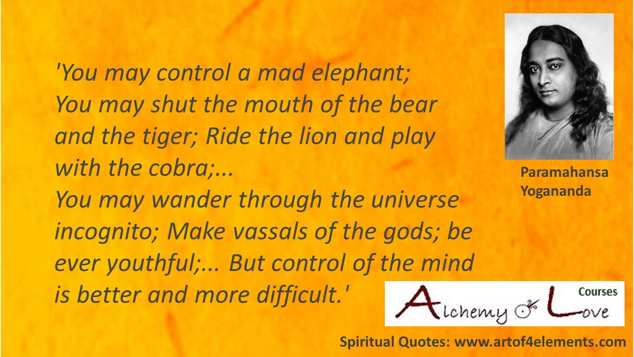 Paramahansa Yogananda Spiritual Quote about meditation and mad elephant