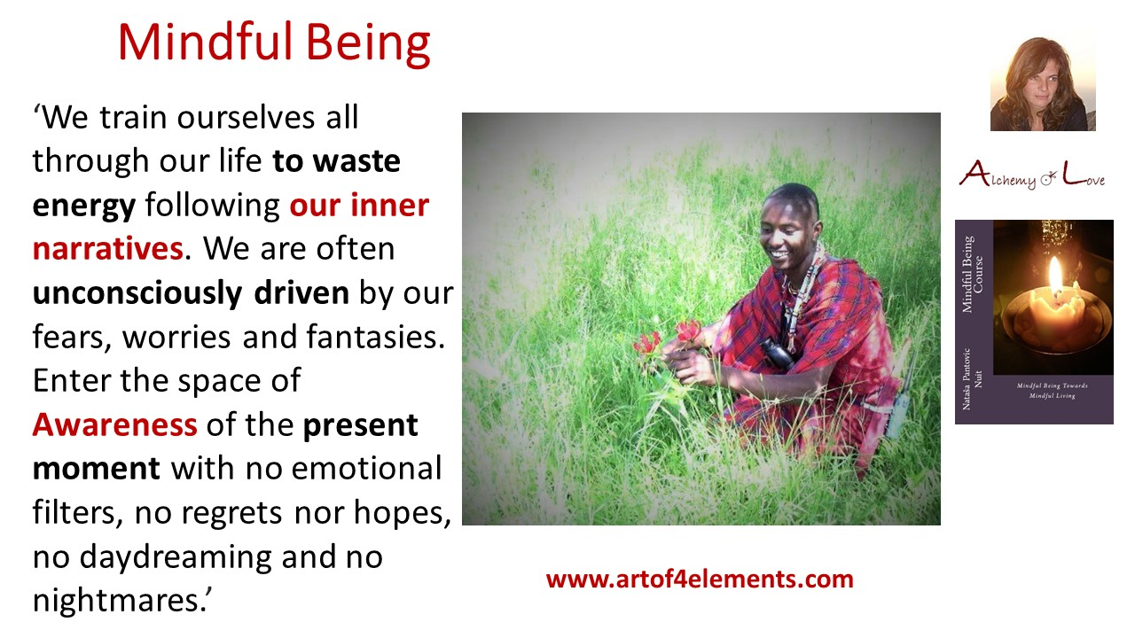 Mindful Being by Nataša Pantović quote about awareness present moment