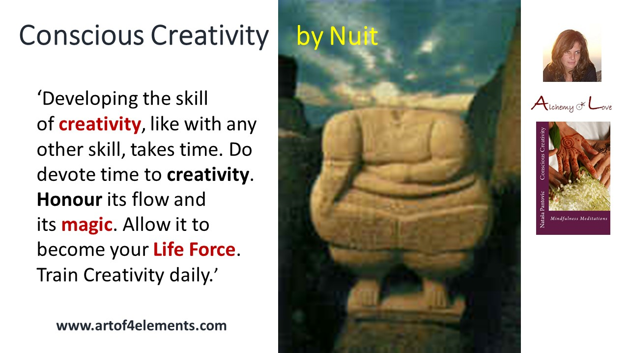 develop creative skills conscious creativity mindfulness meditations book quote by Nataša Pantović Nuit
