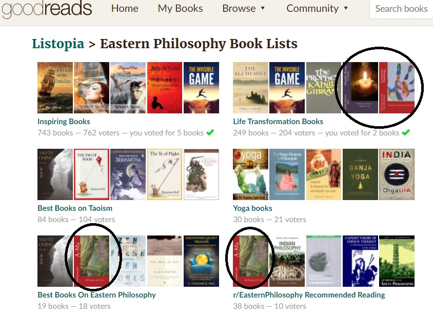 Eastern Philosophy Recommended Books Goodreads List with A-Ma Alchemy of Love by Nuit