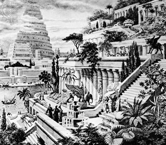 Artists recreation of the Hanging Gardens of Babylon 600 BC Enciclopedia Brittanica