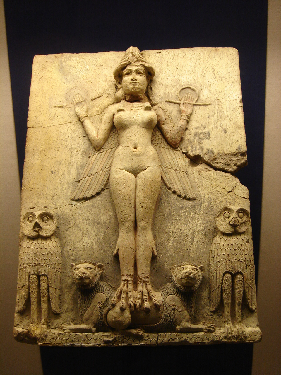 The Queen of the Night relief The figure could be an aspect of the goddess Ishtar Babylonian goddess of sex and love
