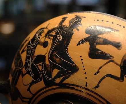 Herakles freeing Prometheus Anceint Greece Vase 500 BC Louvre Paris