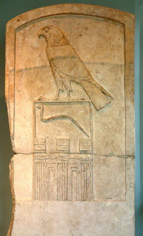 Falcon and snake Ancient Egypt name of Horus in Louvre 2500 BC
