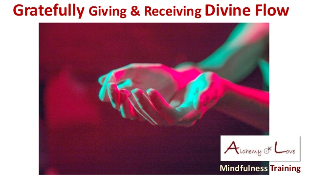 Gratefully giving or receiving divine flow light as symbol of divine