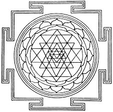Sri Yantra and four elements square Hindus mysticism