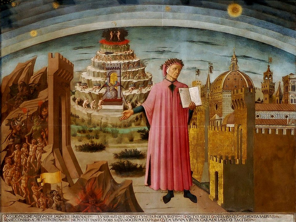 Dante holding a copy of the Divine Comedy in Florence Michelino fresco