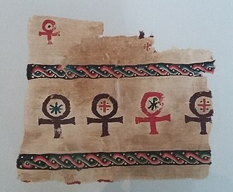 Ancient Egyptian Ankh symbols Crux ansata signs on a piece of cloth 400 AC