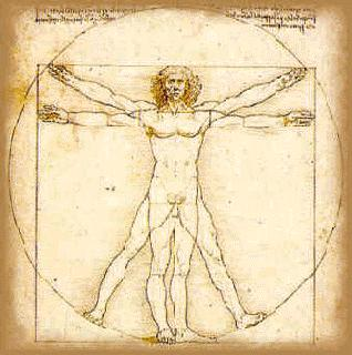 symbolism of spiral and golden ratio, leonardo man in a square