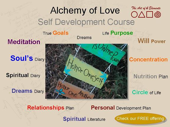 alchemy of love, spiritual journey, self development course offering