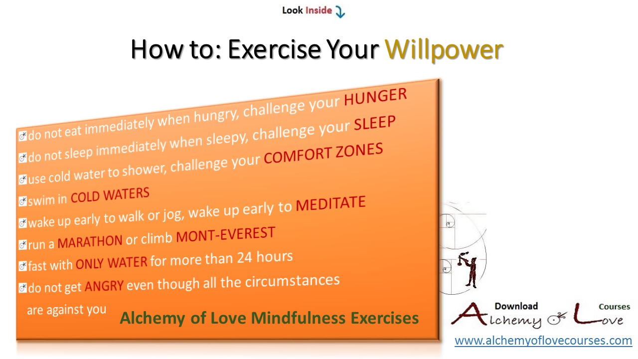 alchemy of love mindfulness training, willpower exercises