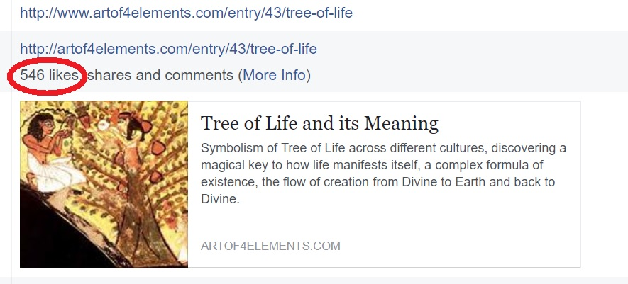 546 likes shares comments in Tree of Life Article