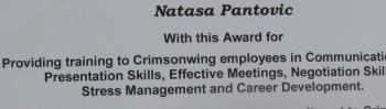 award for providing training in soft management skills working as Head of Business Development for 10 years