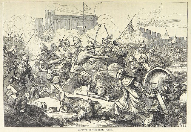 Opium War British in China Capture_of_the_Peiho_Forts 1860 British Library