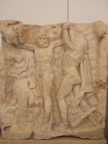 Heracles freeing Prometheus, relief from the Temple of Aphrodite at Aphrodisias 1,000 BC